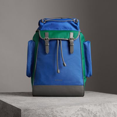 BURBERRY Tri-Tone Nylon And Leather Backpack in Blue
