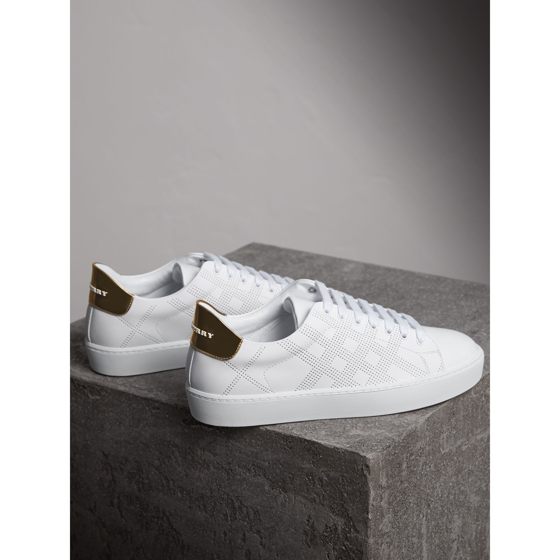Perforated Check Leather Trainers in Optic White - Women | Burberry United Kingdom - gallery image 4