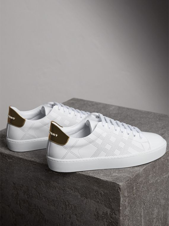 Perforated Check Leather Trainers in Optic White - Women | Burberry - cell image 3