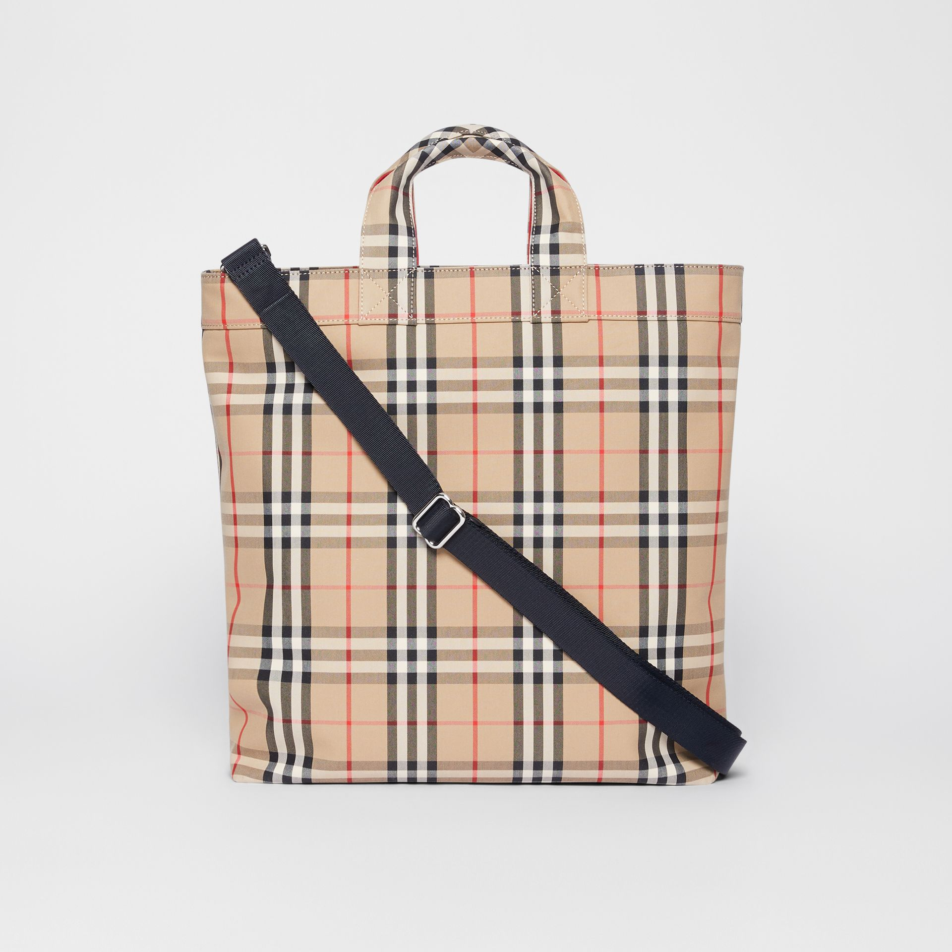 Logo Appliqué Vintage Check Cotton Blend Tote in Archive Beige - Men | Burberry - gallery image 7