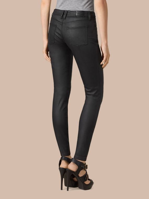 Black Skinny Fit Low-rise Wax Coated Jeans - cell image 2