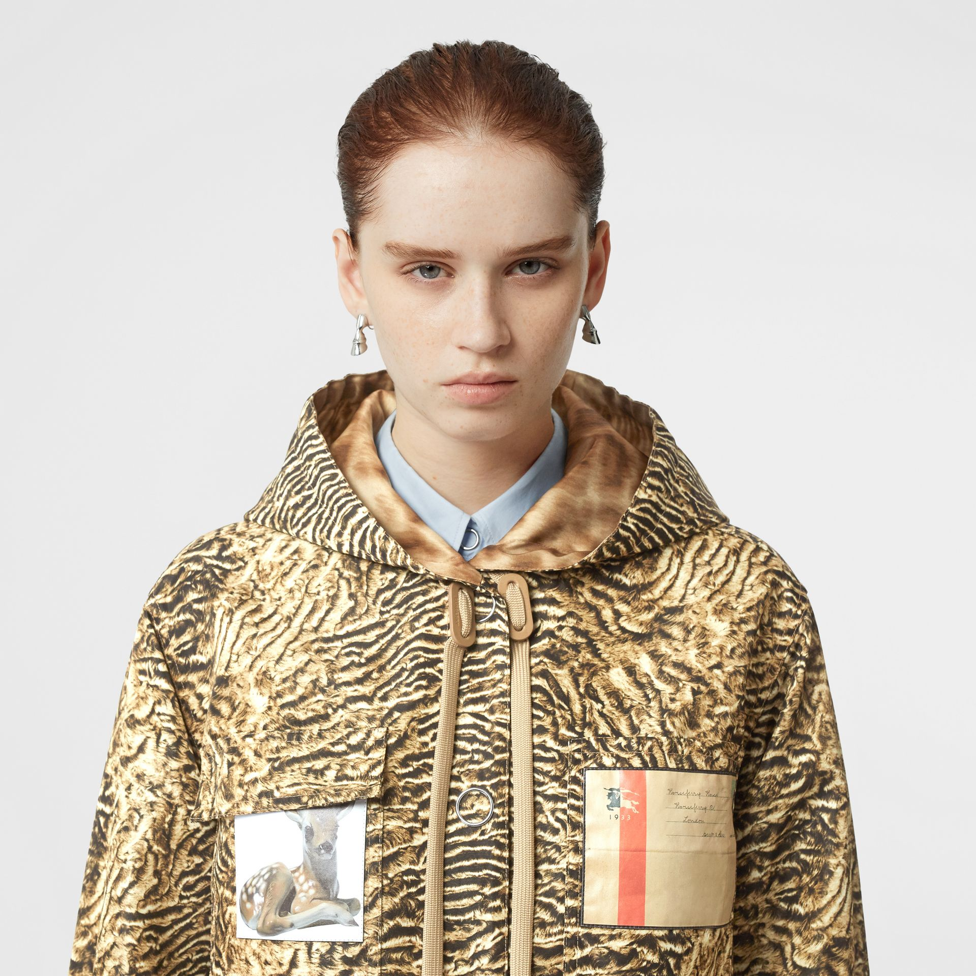 Tiger Print Lightweight Hooded Jacket in Beige - Women | Burberry - gallery image 1