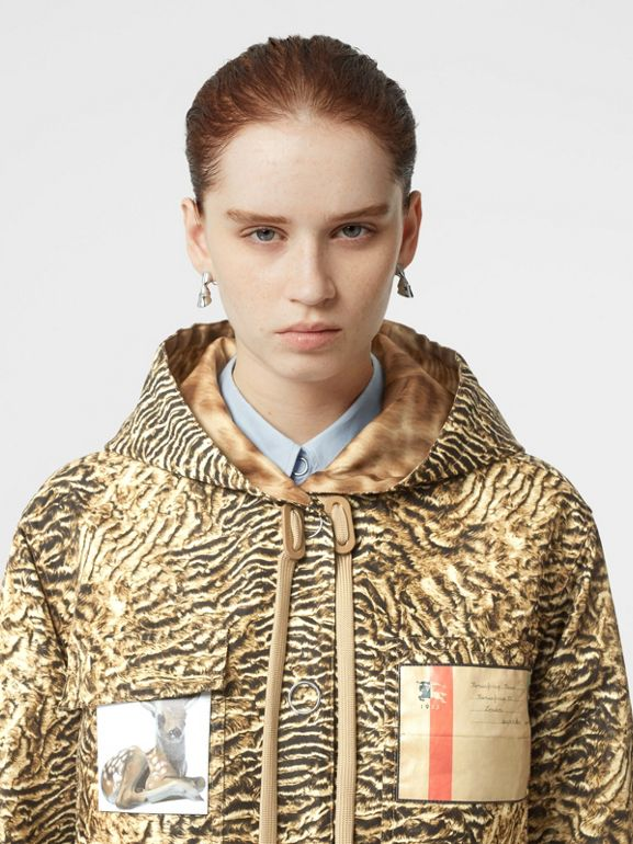 Tiger Print Lightweight Hooded Jacket in Beige - Women | Burberry - cell image 1