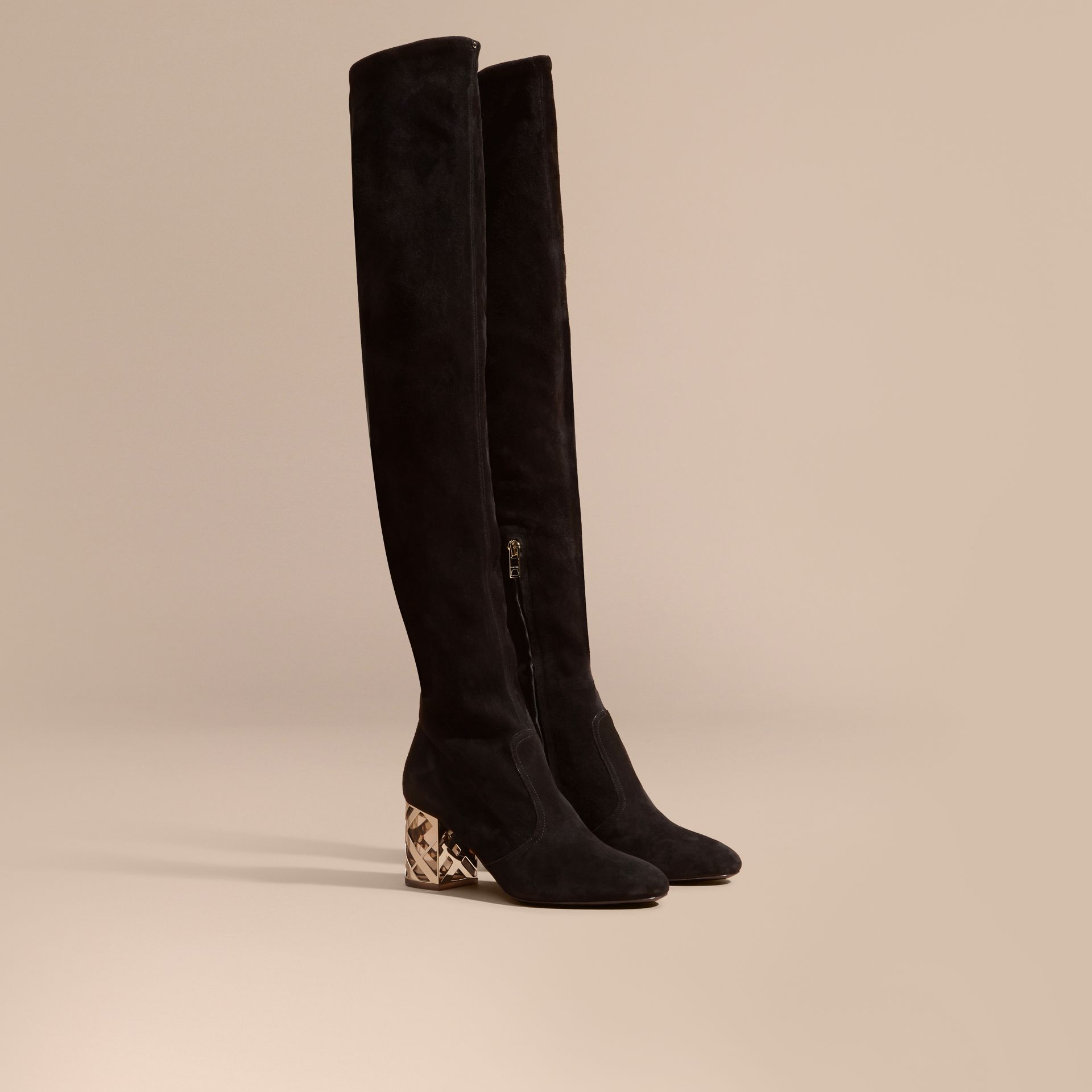 Black Check Heel Suede Over-the-knee Boots - gallery image 1
