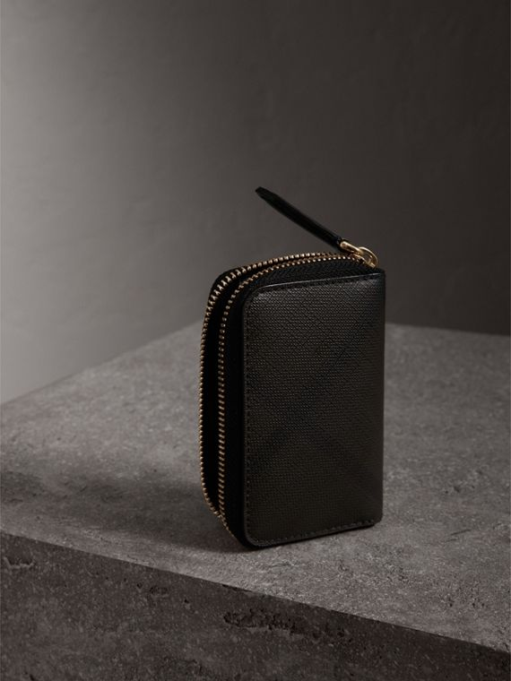 London Check Ziparound Coin Case in Chocolate/black - Men | Burberry - cell image 2