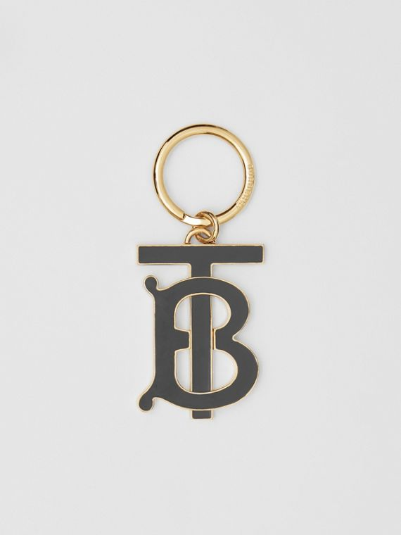 Monogram Motif Gold-plated Key Charm in Black