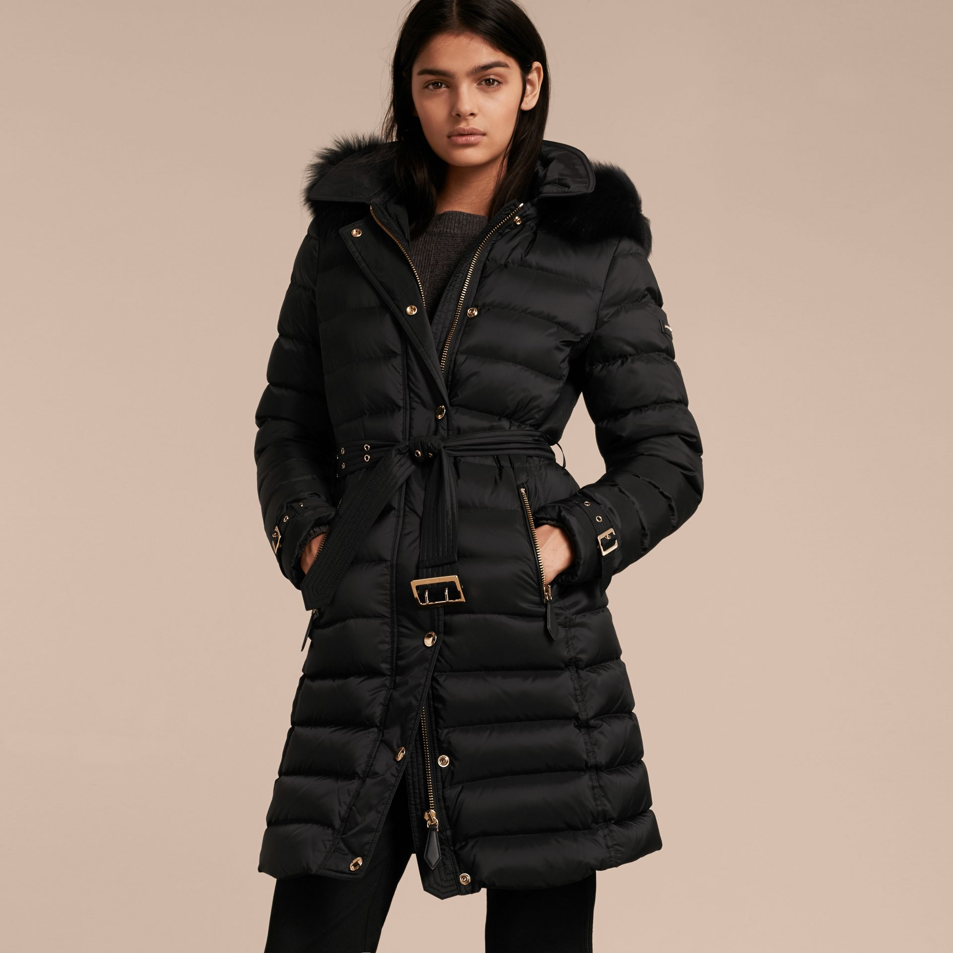 Down-filled Coat with Fox Fur Trim Hood in Black - Women | Burberry - gallery image 7