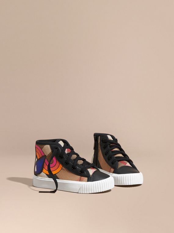 Leather Trim Rainbow Graphic Check High-top Trainers