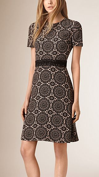 Lace Print Silk Shift Dress
