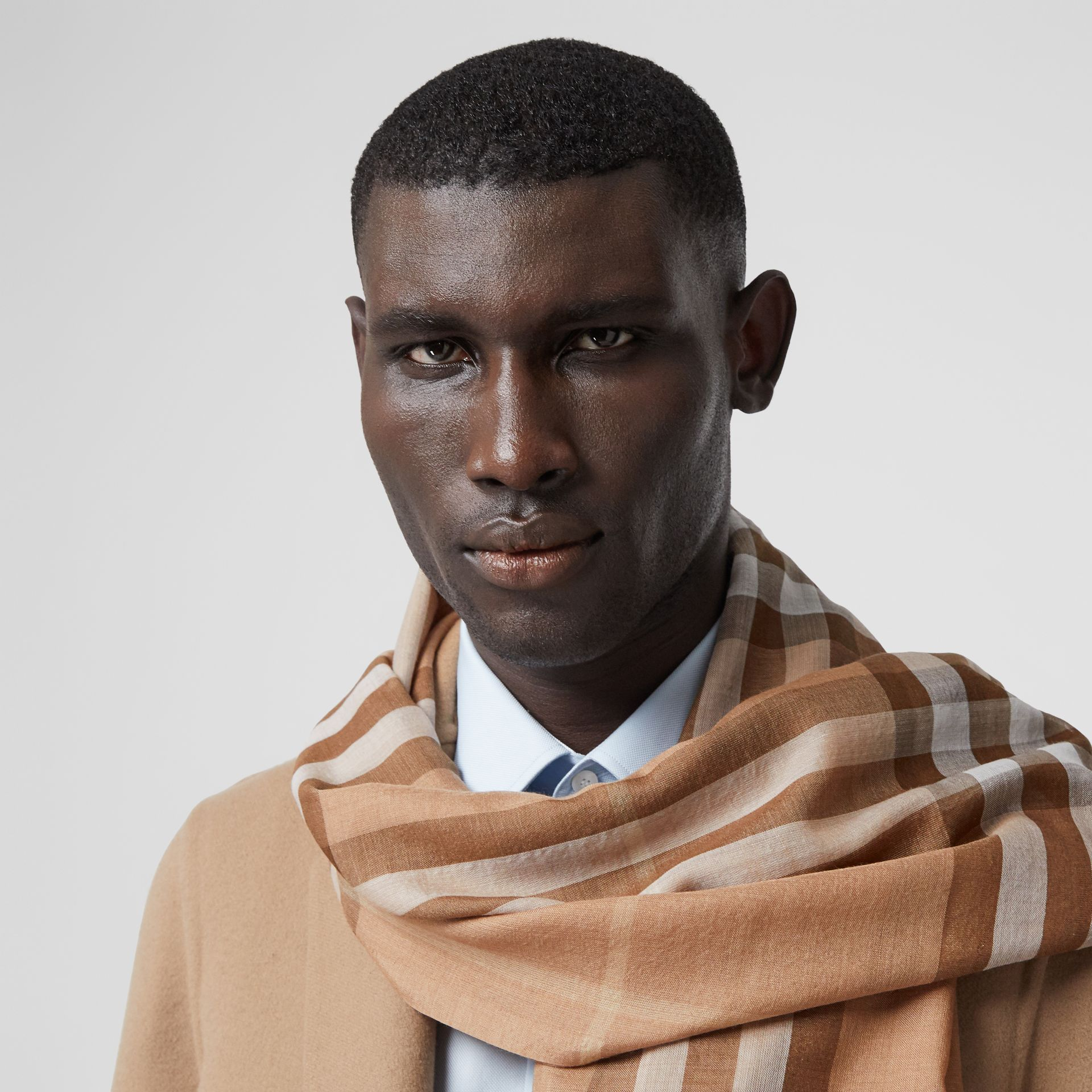Lightweight Check Wool Silk Scarf in Mid Camel | Burberry - gallery image 3