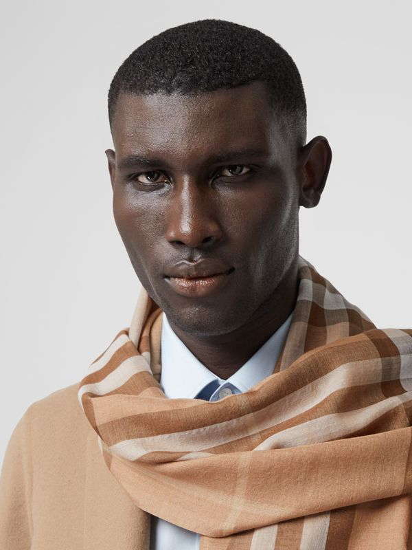 Lightweight Check Wool Silk Scarf in Mid Camel | Burberry - cell image 3