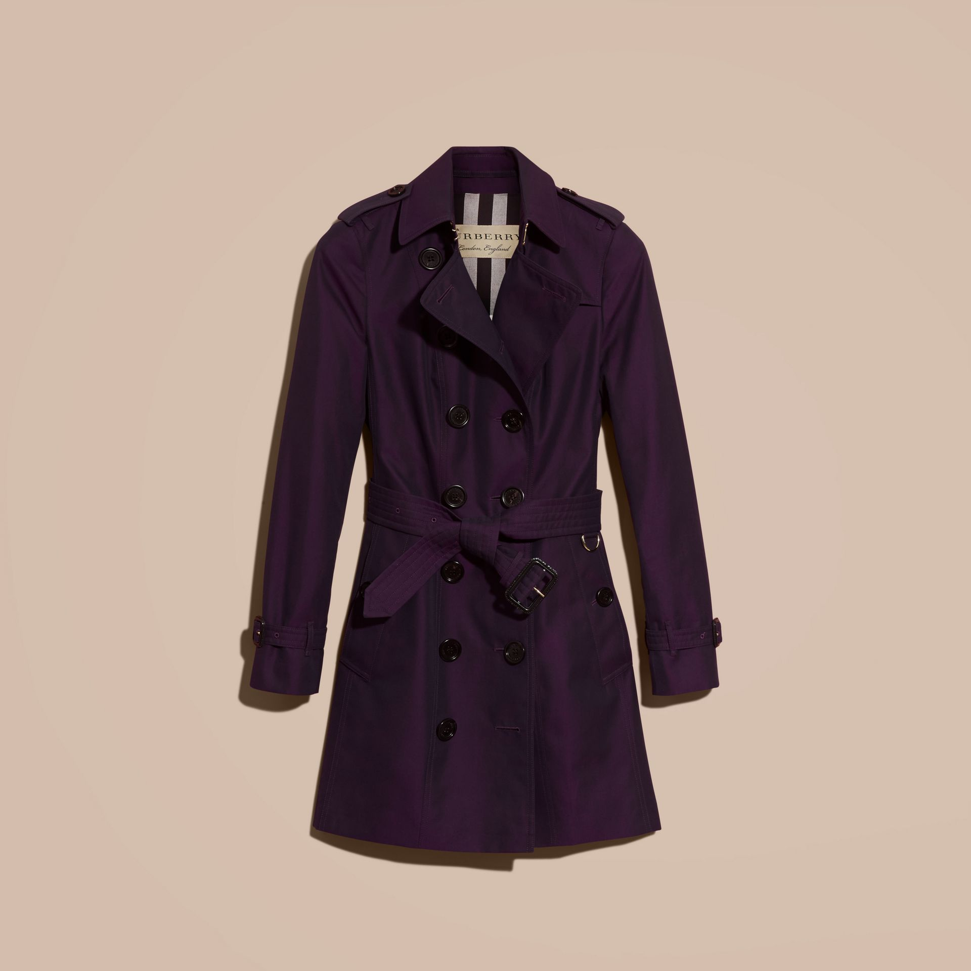 Dark purple Cotton Gabardine Trench Coat Dark Purple - immagine della galleria 4