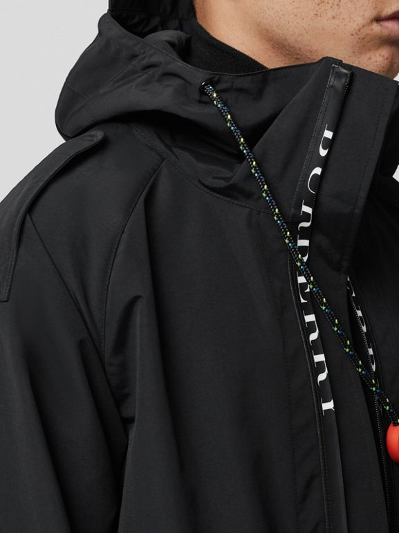 Bungee Cord Detail Hooded Parka in Black - Men | Burberry United Kingdom - cell image 1