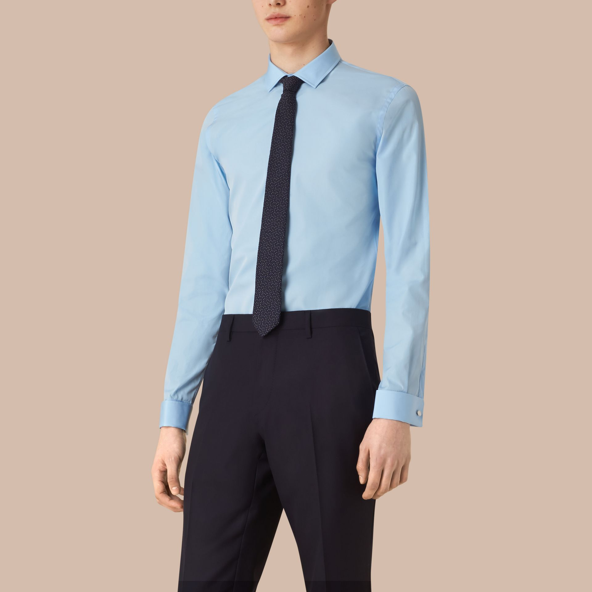 City blue Slim Fit Double Cuff Cotton Poplin Shirt - gallery image 1