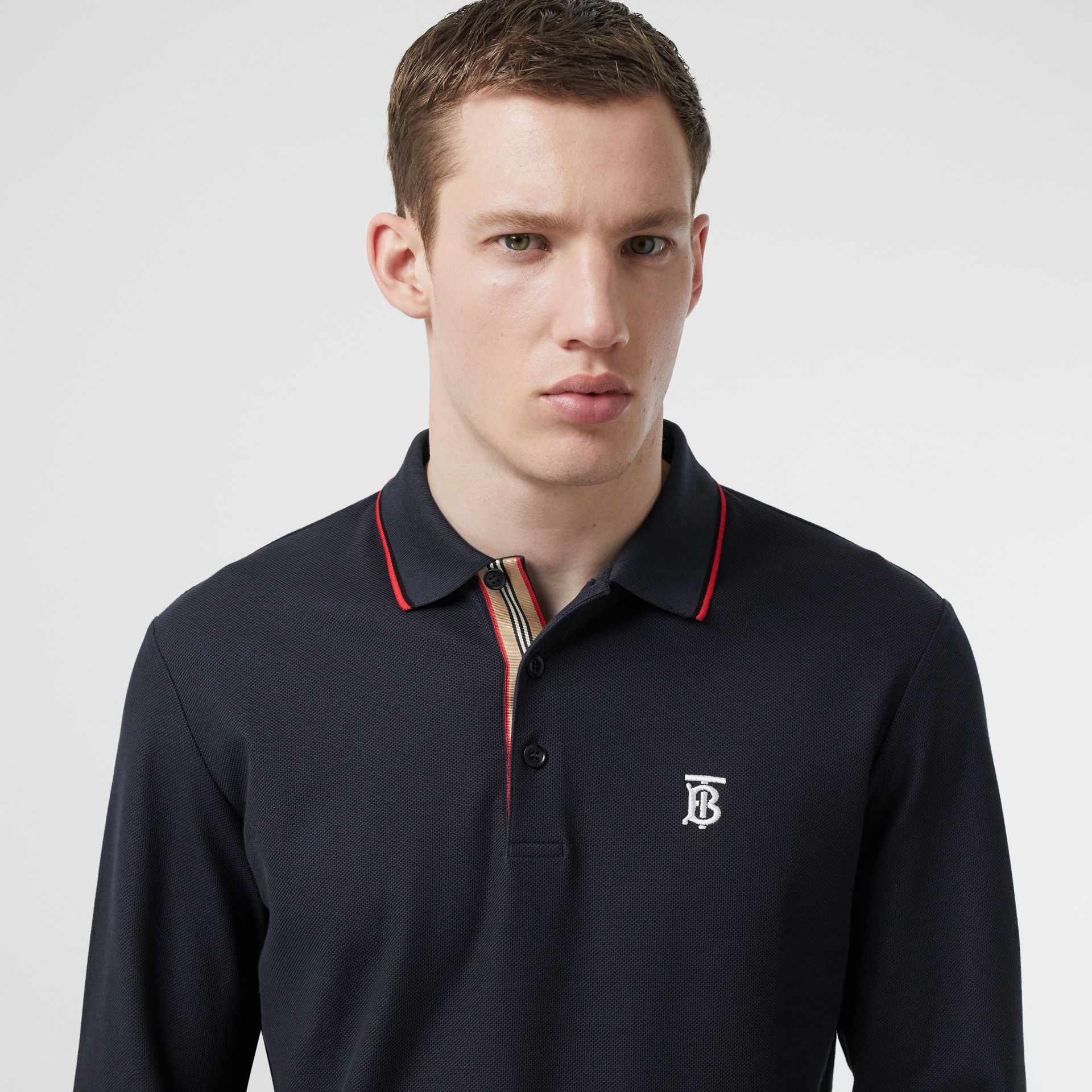 Long-sleeve Monogram Motif Cotton Piqué Polo Shirt in Navy - Men | Burberry Hong Kong S.A.R - gallery image 1