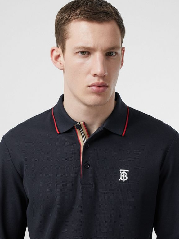 Long-sleeve Monogram Motif Cotton Piqué Polo Shirt in Navy - Men | Burberry Hong Kong S.A.R - cell image 1