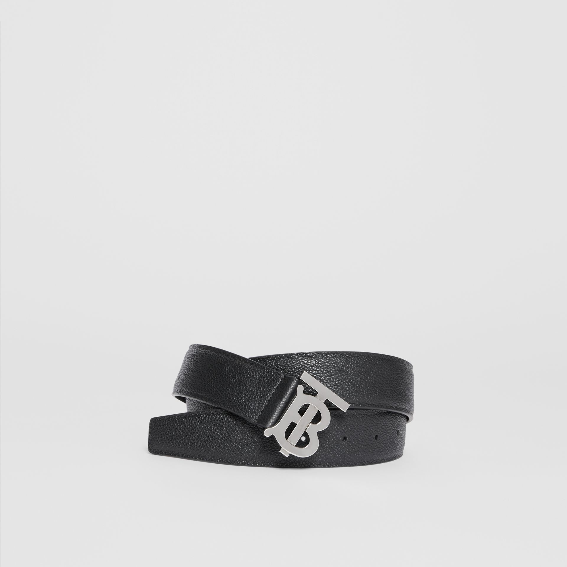 Monogram Motif Grainy Leather Belt in Black - Men | Burberry United States - gallery image 0