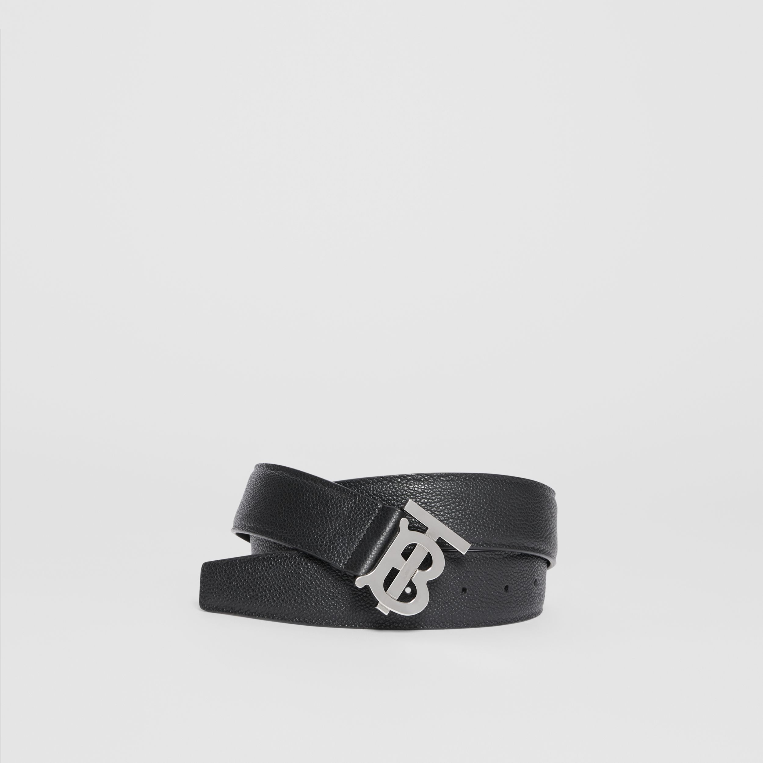 Monogram Motif Grainy Leather Belt in Black - Men | Burberry Singapore - 1