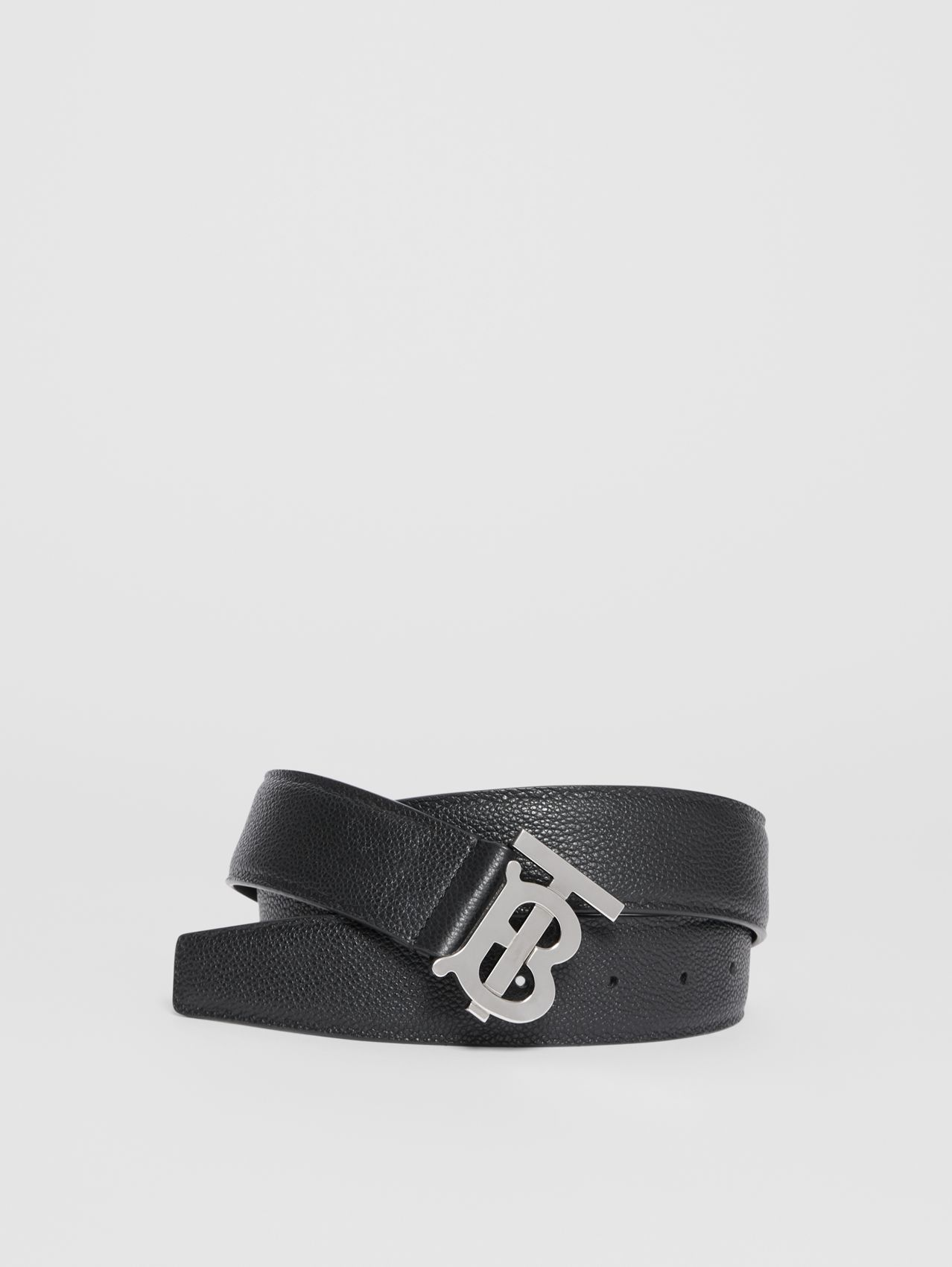 Monogram Motif Grainy Leather Belt (Black)