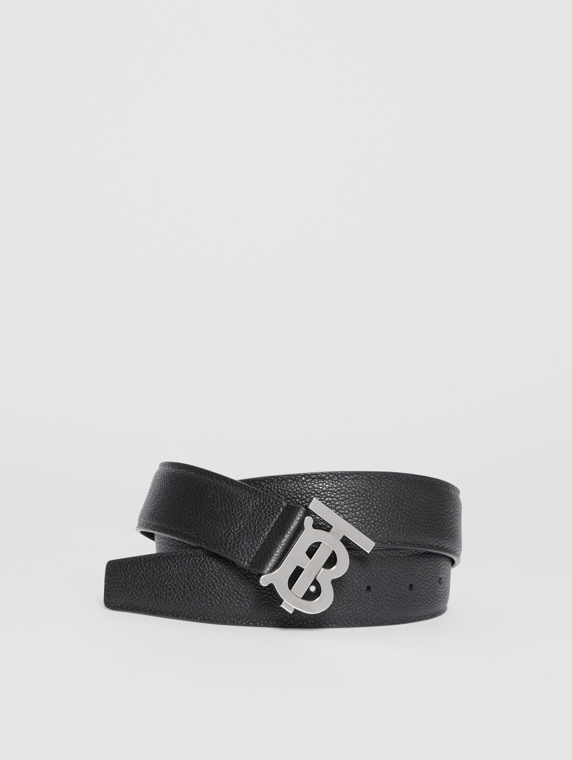 Monogram Motif Grainy Leather Belt in Black - Men | Burberry - 1