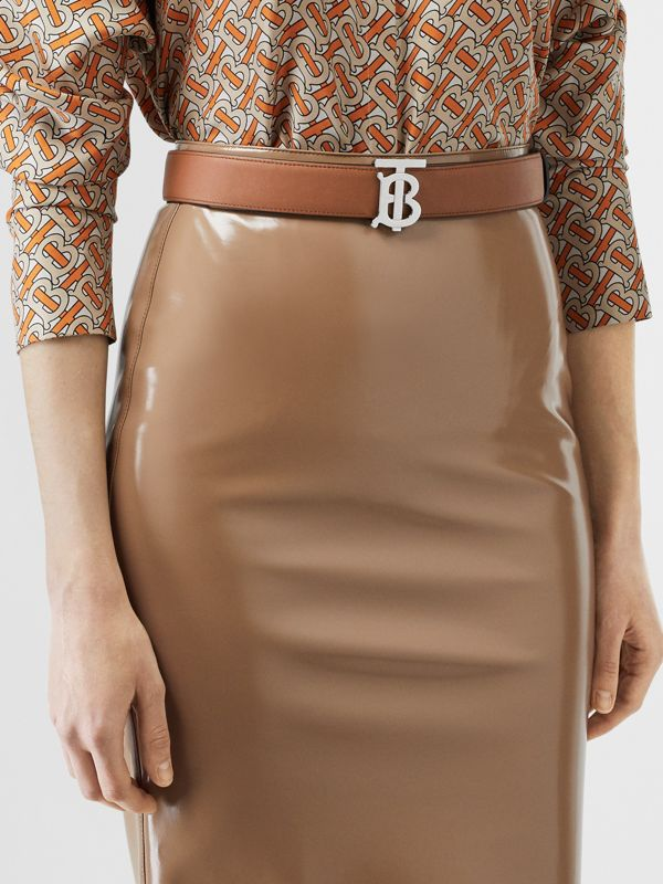 Reversible Monogram Motif Leather Belt in Malt Brown/black - Women | Burberry United Kingdom - cell image 2