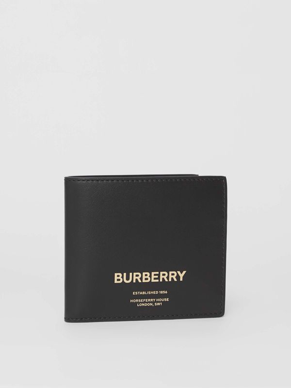 Horseferry Print Leather International Bifold Wallet in Black - Men | Burberry Australia - cell image 3