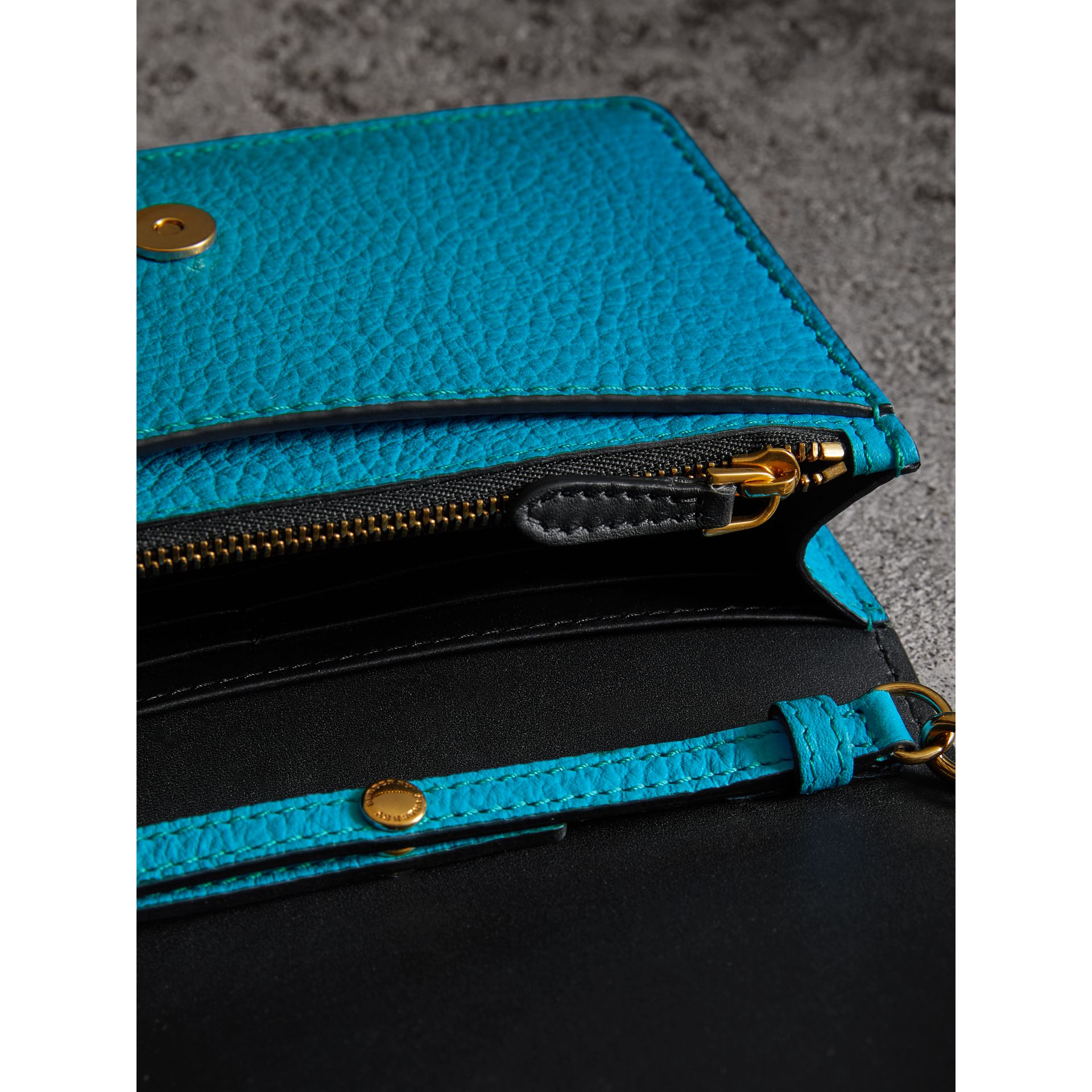 Embossed Leather Wallet with Detachable Strap in Bright Blue - Women | Burberry - gallery image 3