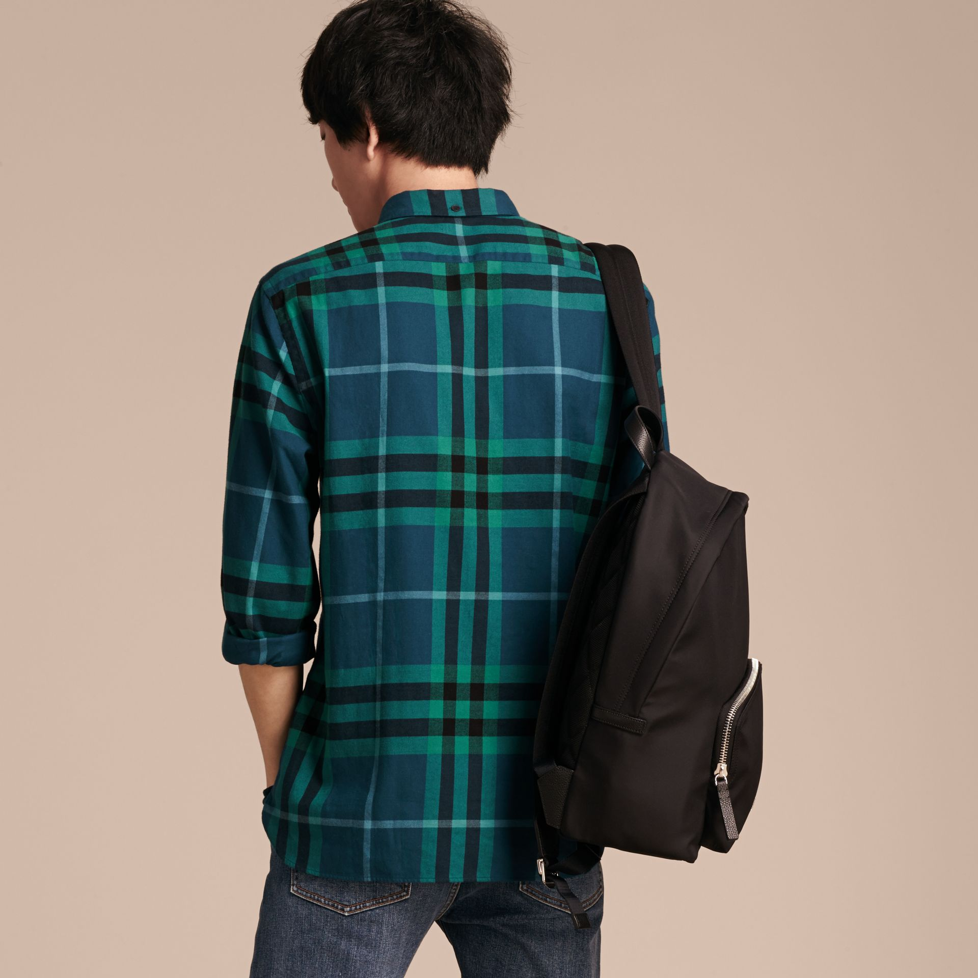 Mineral blue Check Cotton Flannel Shirt Mineral Blue - gallery image 3