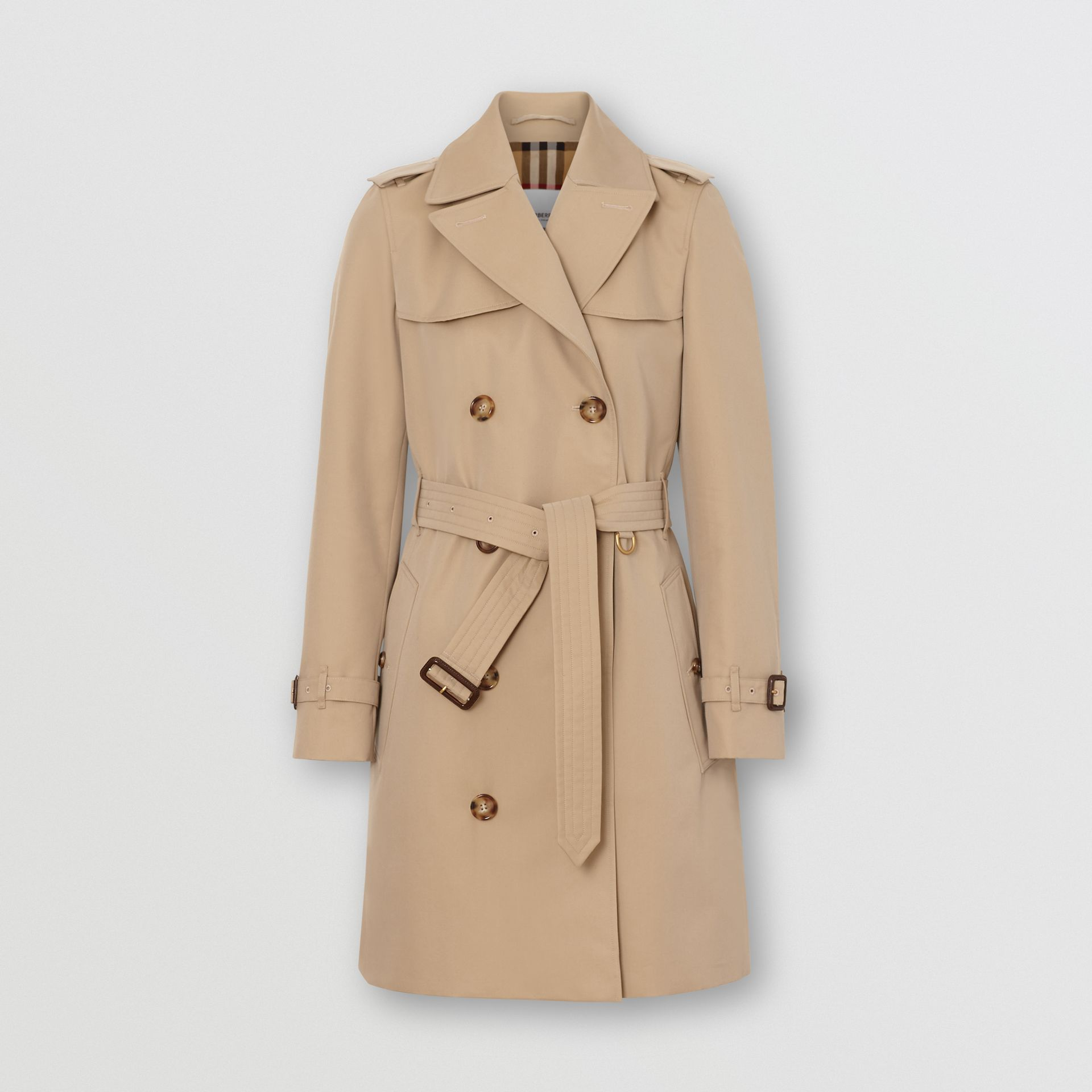 Cotton Gabardine Trench Coat in Honey - Women | Burberry Singapore - gallery image 3