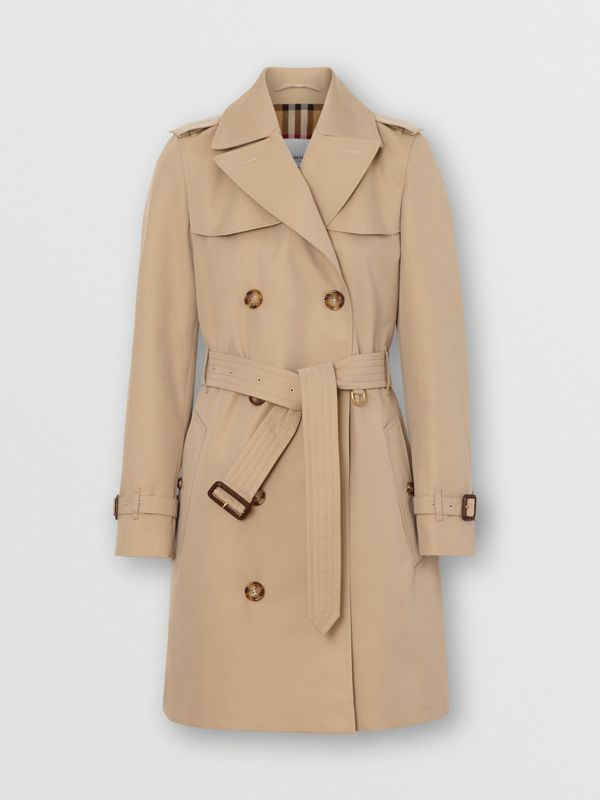 Cotton Gabardine Trench Coat in Honey - Women | Burberry Singapore - cell image 3