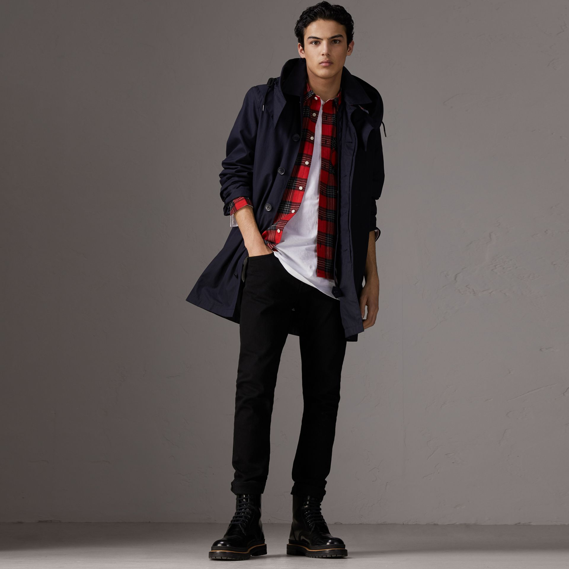 Detachable Hood Cotton Blend Car Coat with Warmer in Navy - Men | Burberry Singapore - gallery image 0