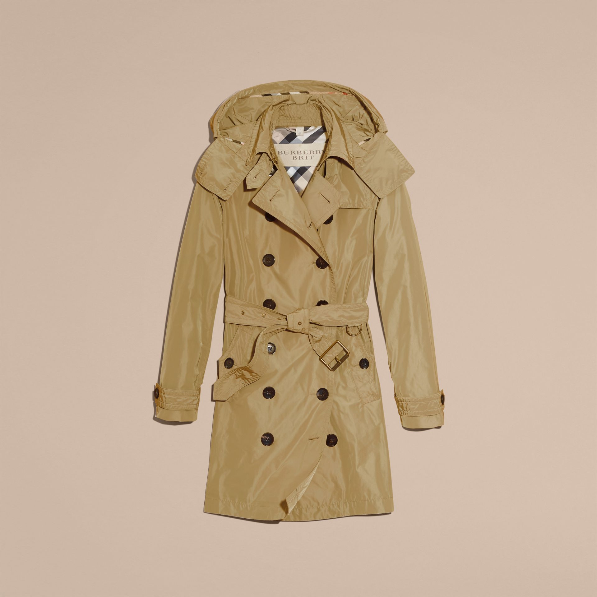 Sisal Taffeta Trench Coat with Detachable Hood Sisal - gallery image 4