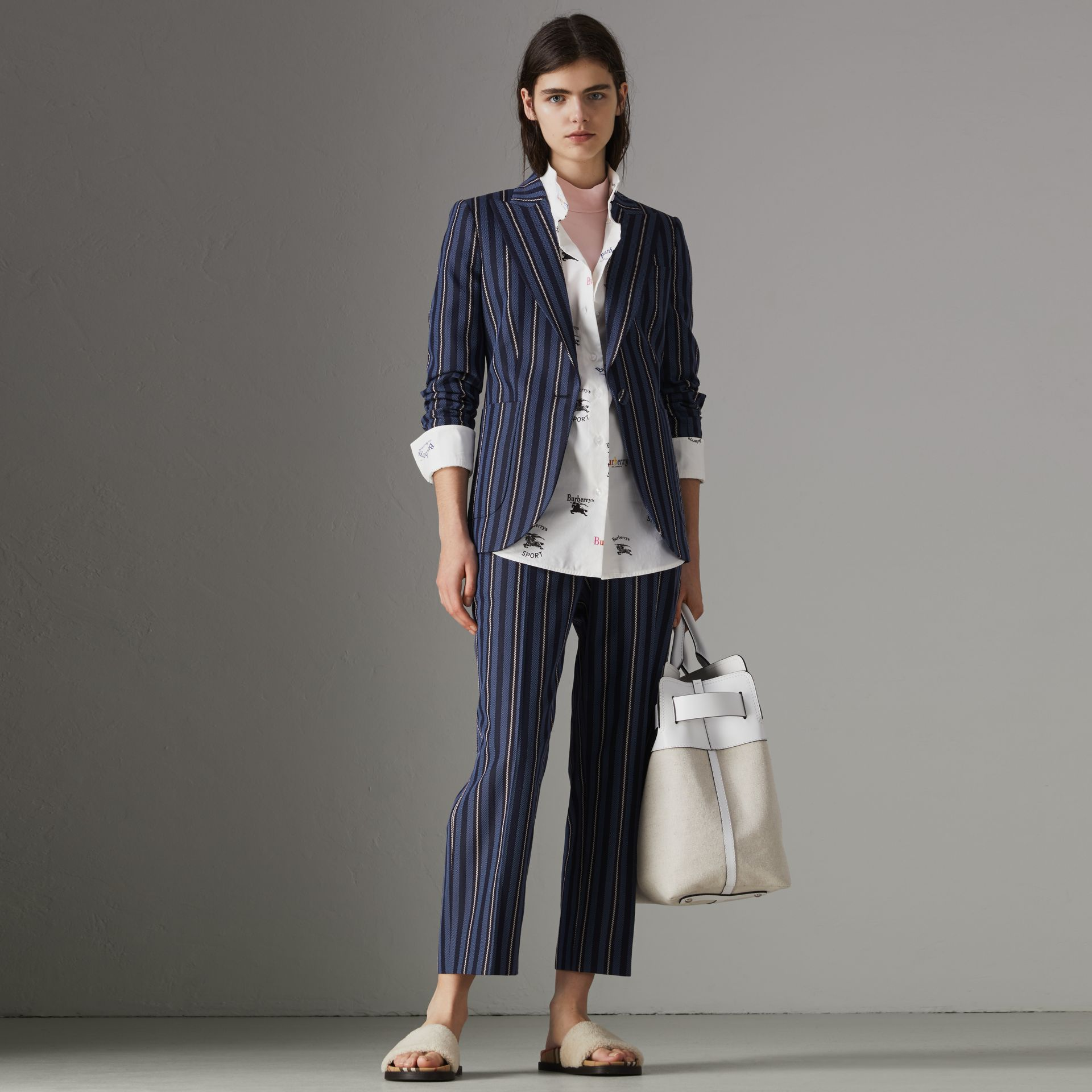 Collegiate Stripe Wool Blend Blazer in Navy/light Blue - Women | Burberry United Kingdom - gallery image 0