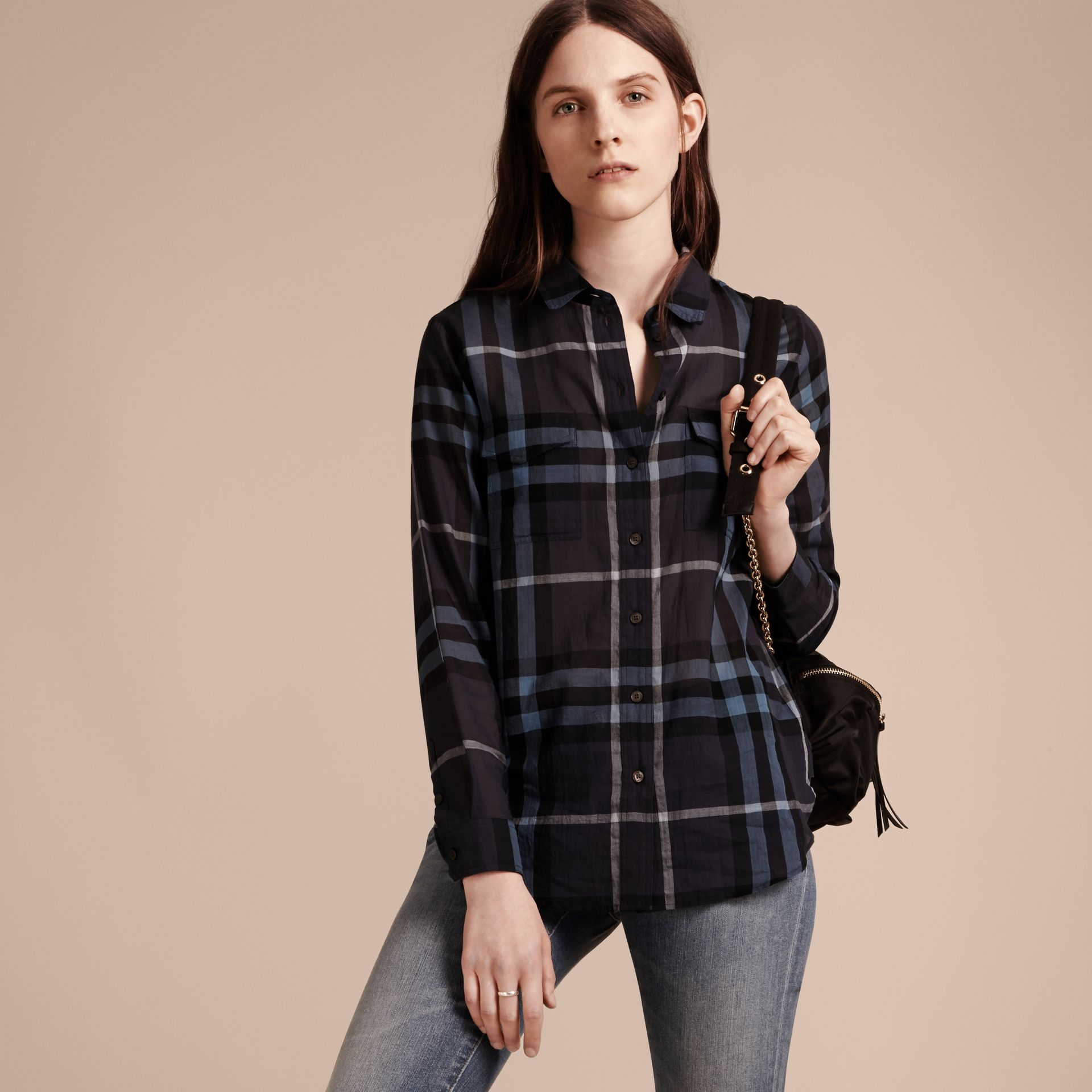 Ink blue Check Cotton Shirt Ink Blue - gallery image 6
