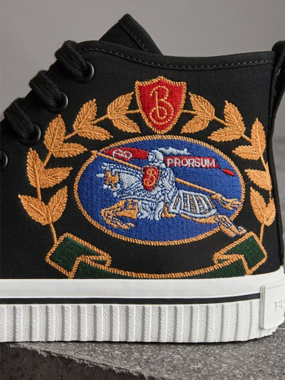 Embroidered Archive Logo High-top Sneakers in Black - Women | Burberry - cell image 1