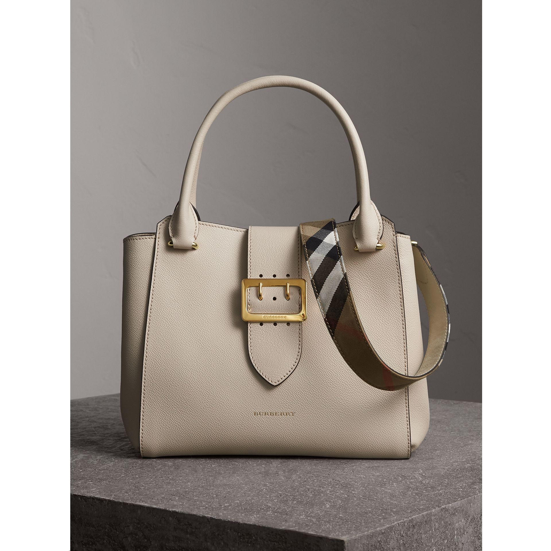 The Medium Buckle Tote in Grainy Leather in Limestone - Women | Burberry - gallery image 1