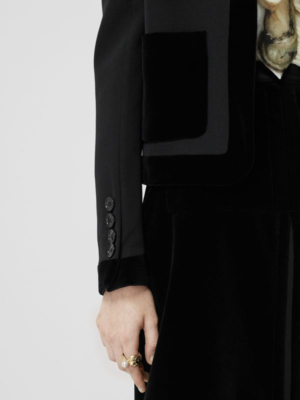 Velvet Detail Wool Tailored Jacket in Black - Women | Burberry - cell image 3