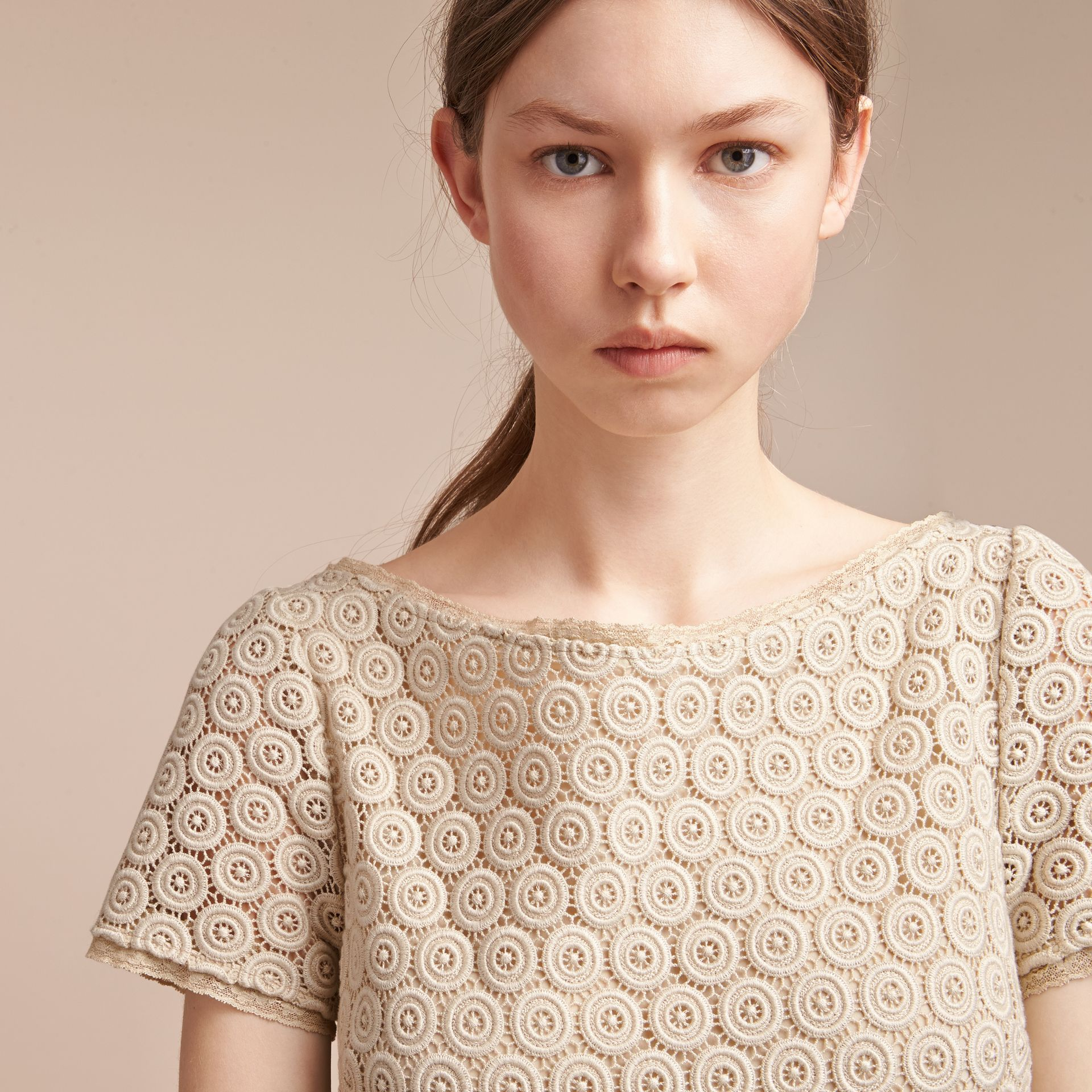 Short-sleeve Geometric Lace Dress in Stone - Women | Burberry Canada - gallery image 5