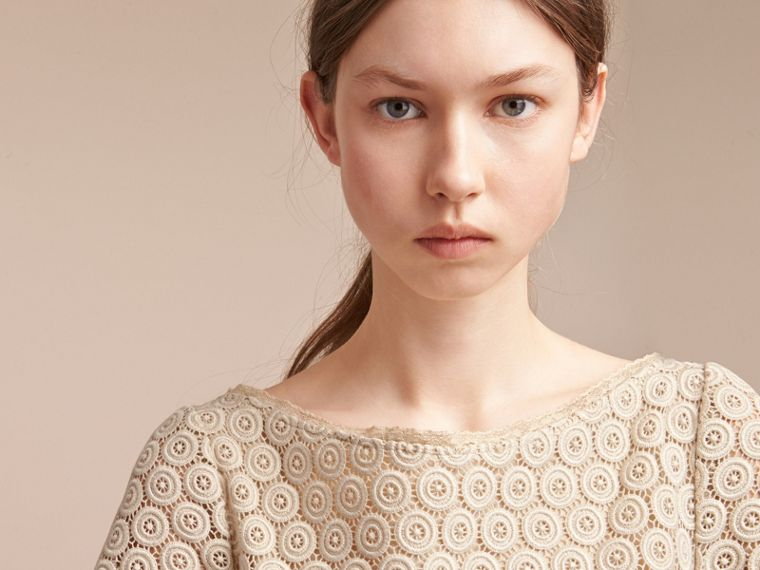 Short-sleeve Geometric Lace Dress in Stone - Women | Burberry - cell image 4