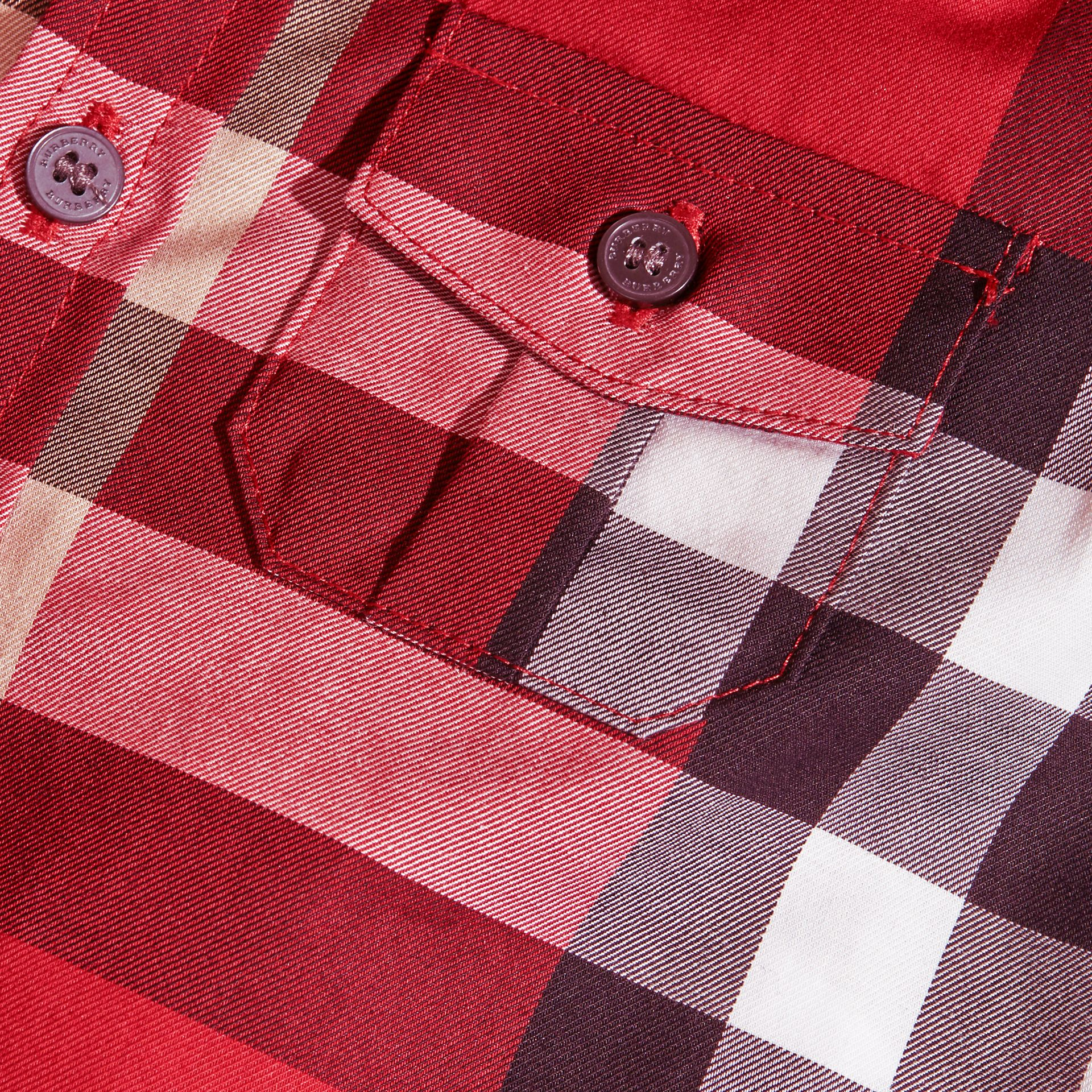 Check Cotton Shirt in Parade Red | Burberry - gallery image 2