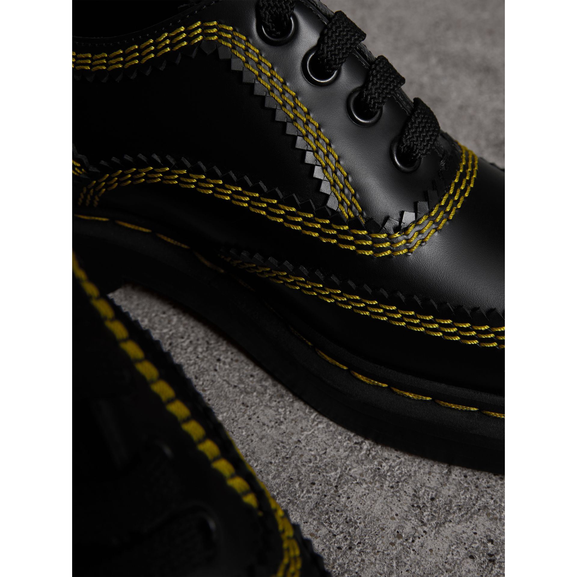 Topstitch Leather Lace-up Shoes in Black - Women | Burberry - gallery image 2