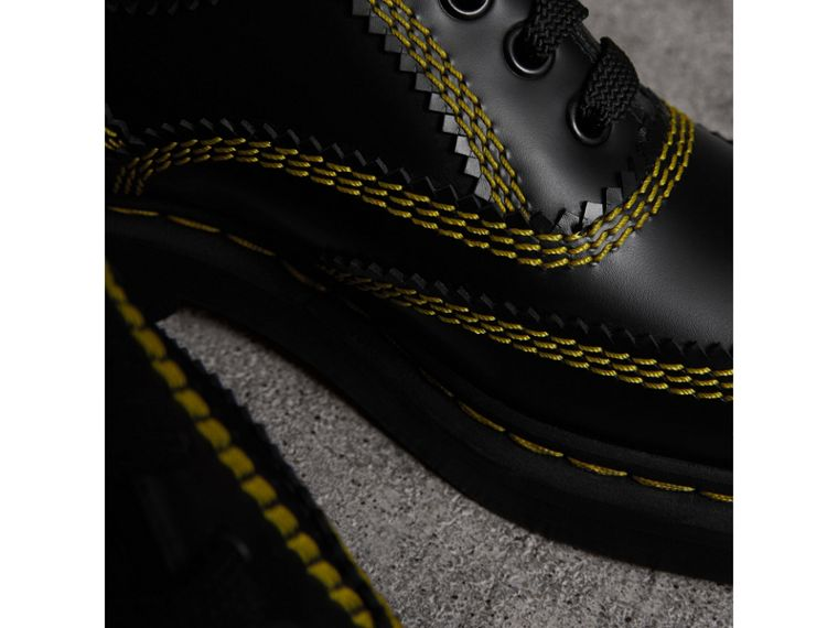 Topstitch Leather Lace-up Shoes in Black - Women | Burberry United States - cell image 1