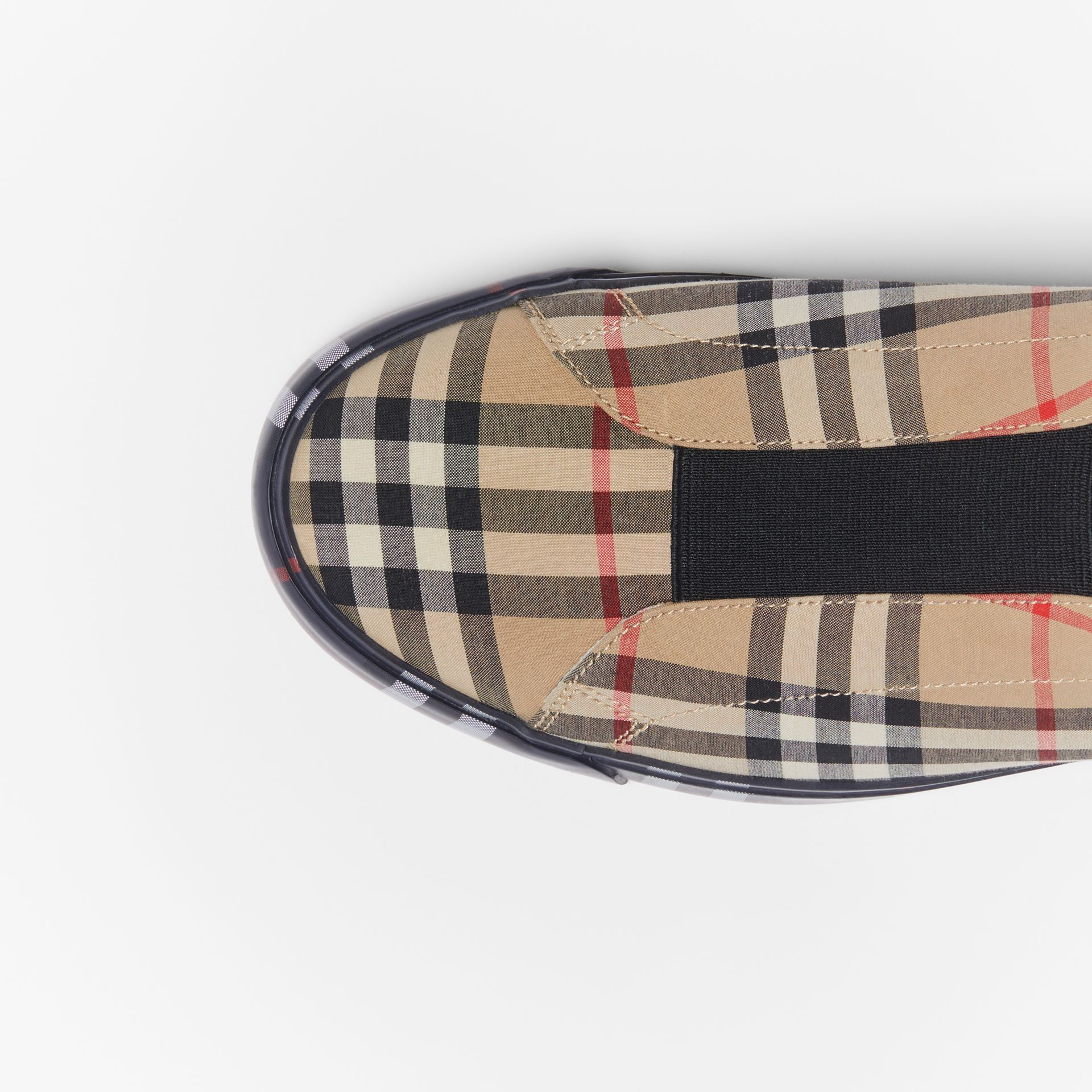 Contrast Check and Leather Slip-on Sneakers in Archive Beige - Men | Burberry - gallery image 1