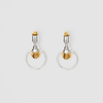 Palladium And Gold Plated Hoof Hoop Earrings by Burberry