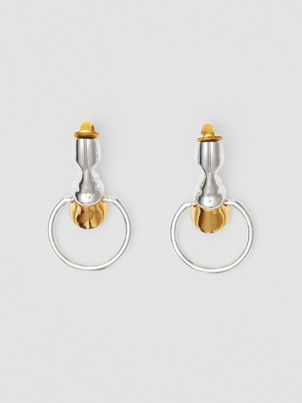 Palladium and Gold-plated Hoof Hoop Earrings in Palladium/light