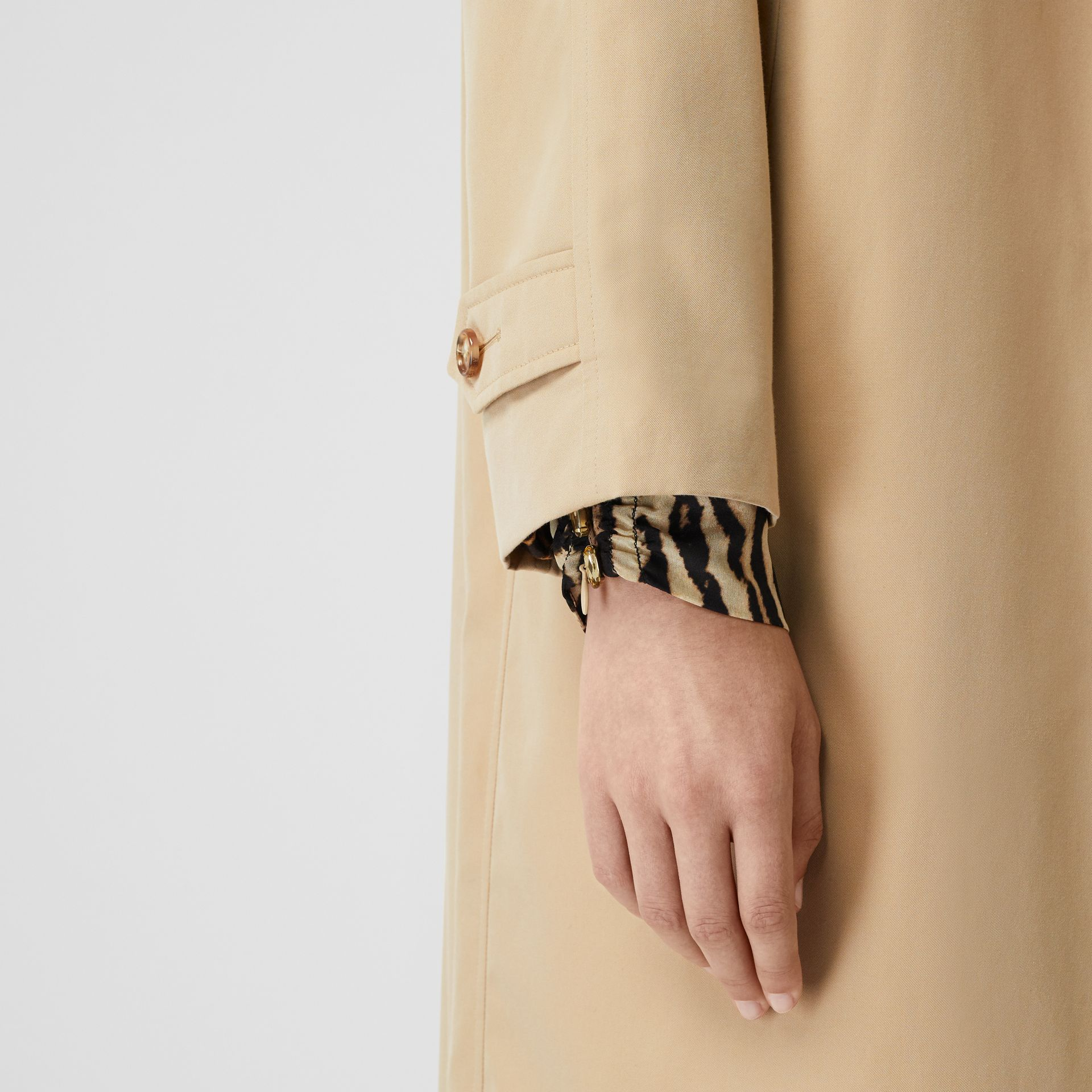Leopard Print-lined Cotton Gabardine Car Coat in Honey - Women | Burberry Australia - gallery image 5