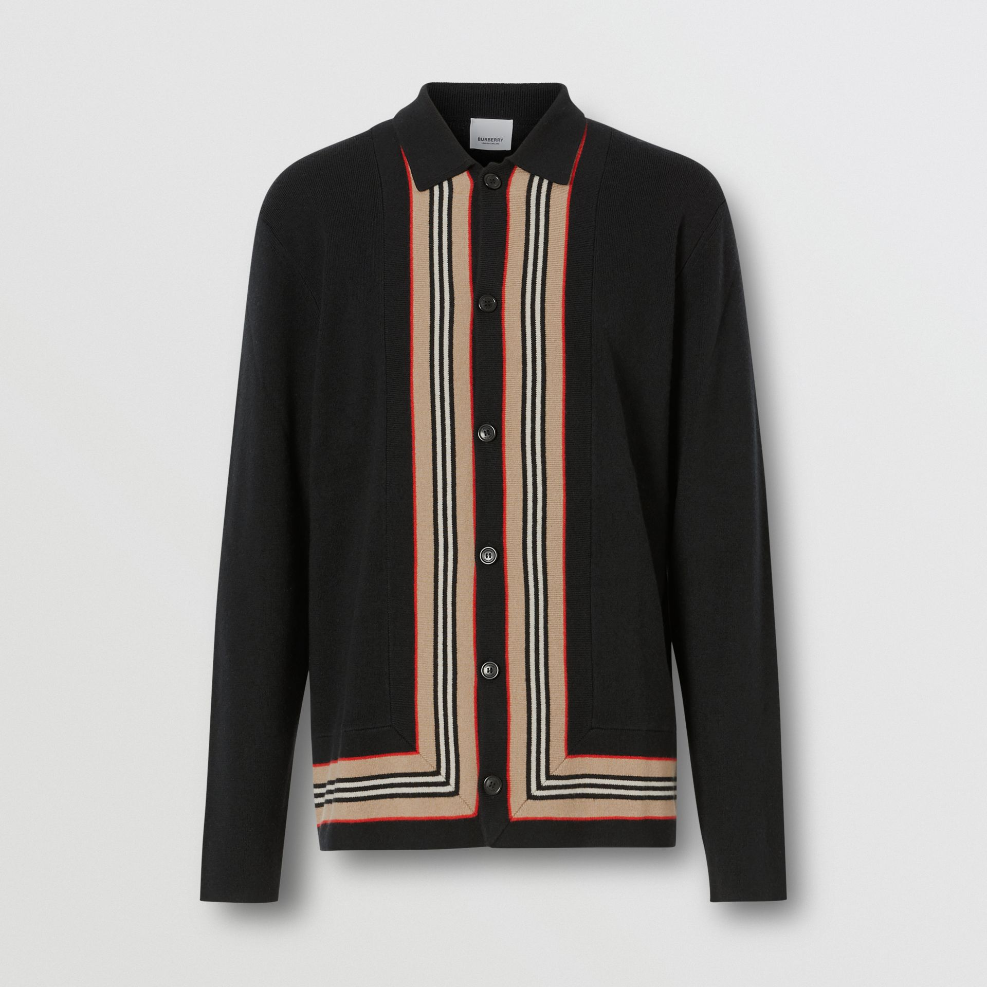 Icon Stripe Trim Wool Cashmere Cardigan in Black - Men | Burberry - gallery image 3