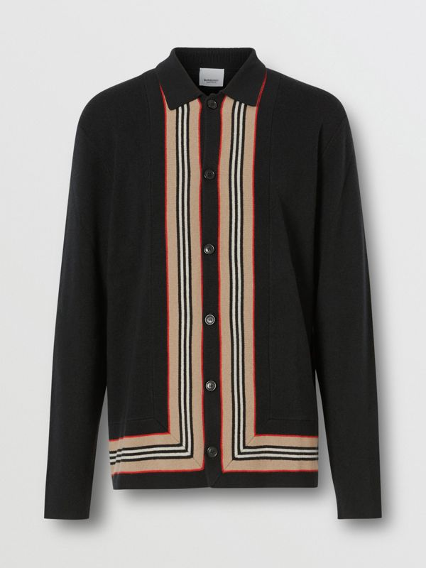 Icon Stripe Trim Wool Cashmere Cardigan in Black - Men | Burberry - cell image 3