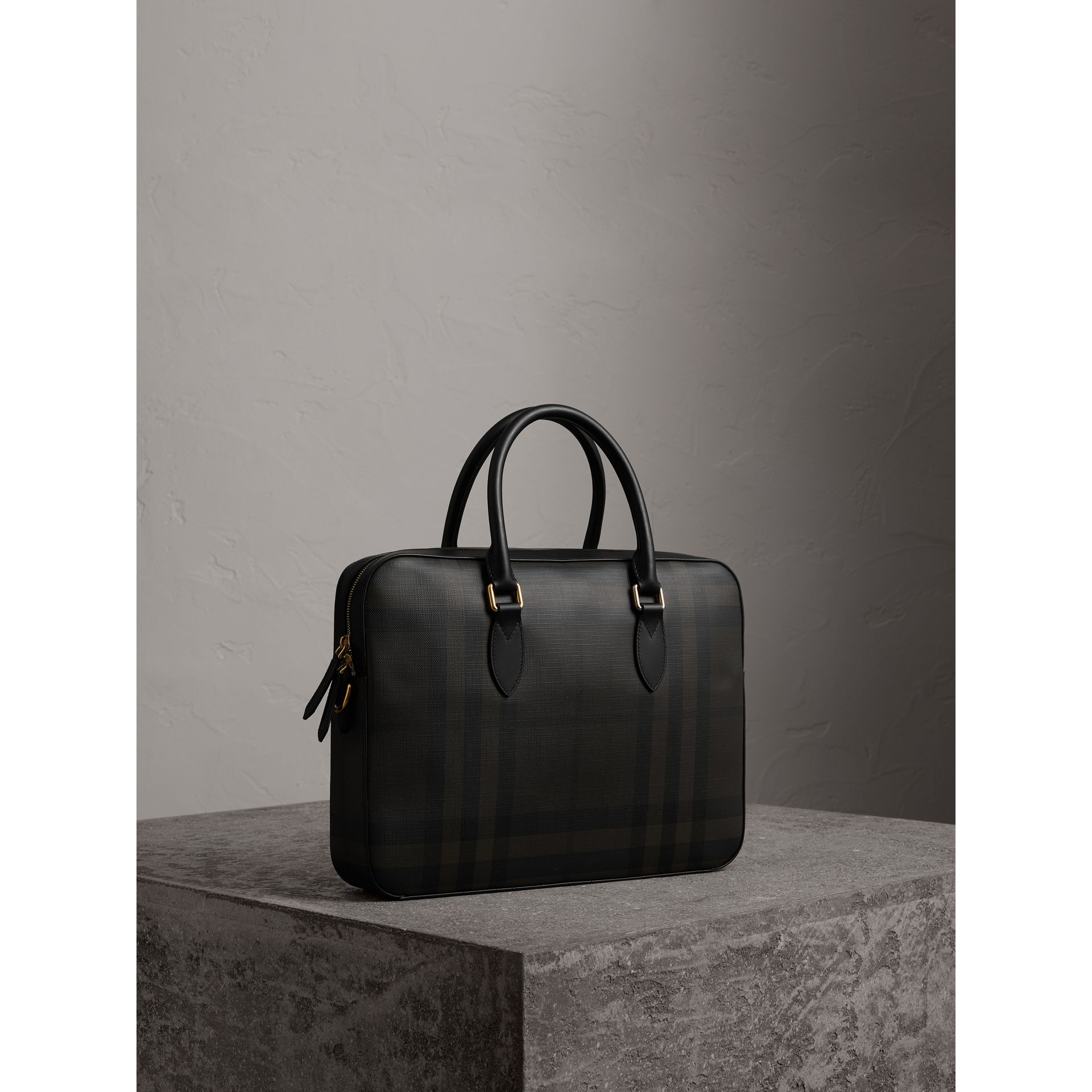 Medium Leather Trim London Check Briefcase in Chocolate/black - Men | Burberry - gallery image 7