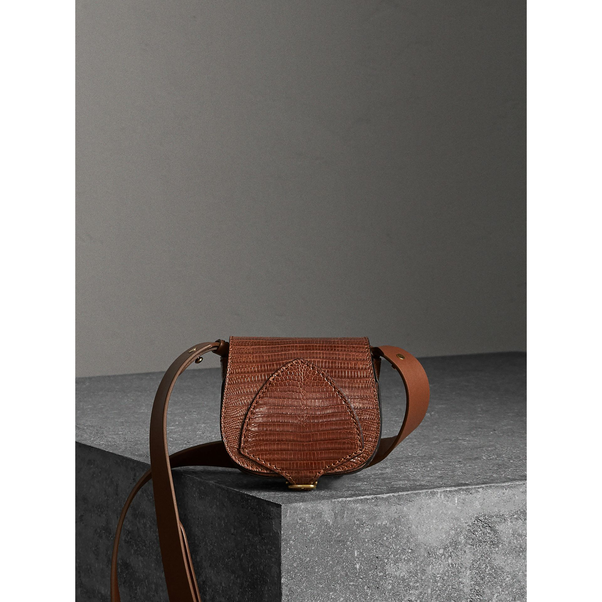 The Pocket Satchel in Lizard in Chestnut Brown - Women | Burberry Singapore - gallery image 0